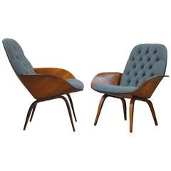 Pair of Plywood Mulhauser Lounge Chairs by Plycraft