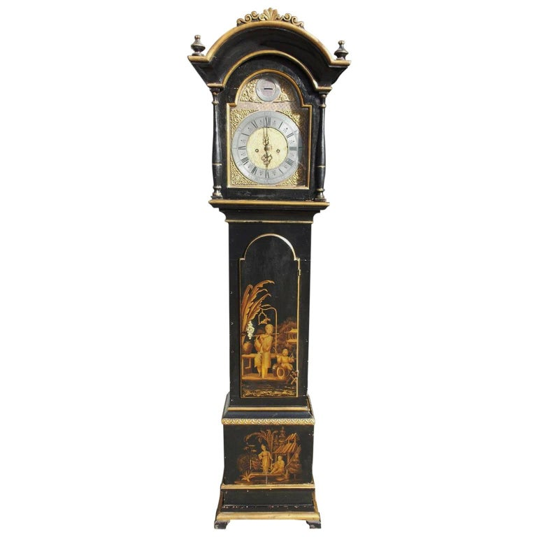 Swedish Black Lacquered and Gilt Chinoiserie Tall Case Clock, Lanner, Circa 1775 For Sale