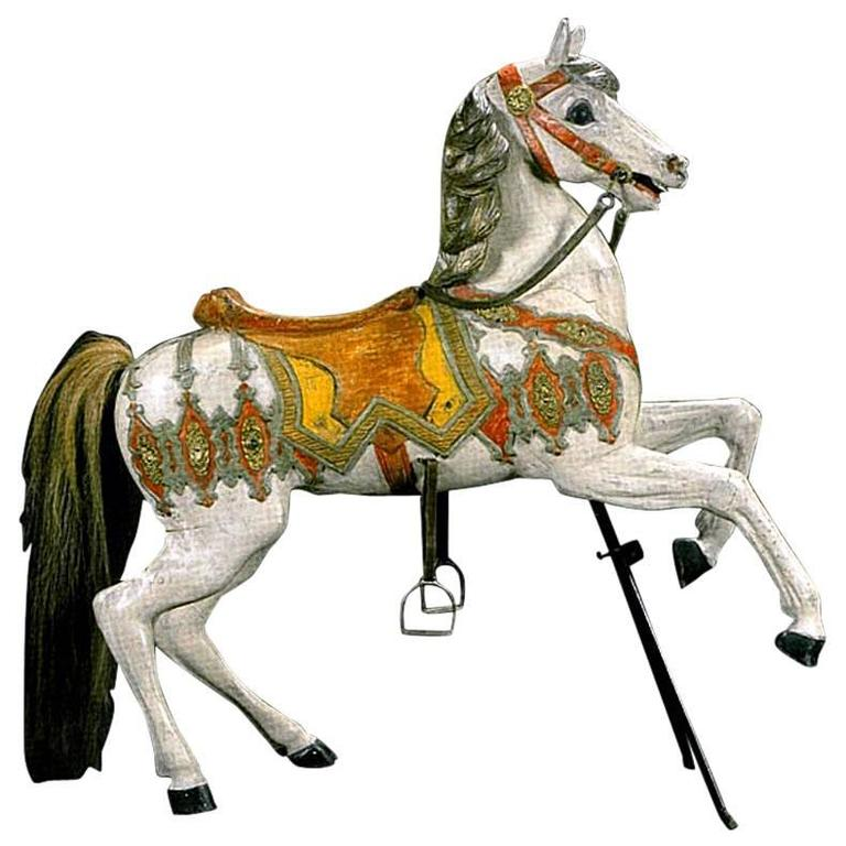 Carved Horse, Wood, Hand-Painted, 1910, Atelier Hübner & Poeppig, Germany. For Sale