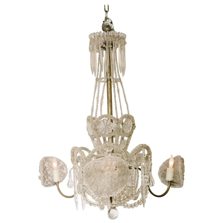 Early 20th Century Crystal and Glass Chandelier