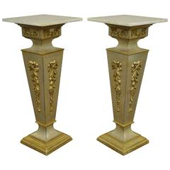 Pair of 20th Century Italian Florentine Marble Top Pedestals or Bust Stands