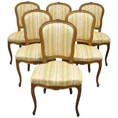 Set of Six Carved Walnut French Louis XV Style Dining Side Chairs, circa 1950