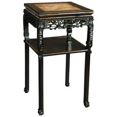 19th Century Square Chinese Pot Stand with Marble Insert