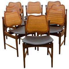 Set of Eight Danish Swivel-Back Dining Chairs, Arne Vodder
