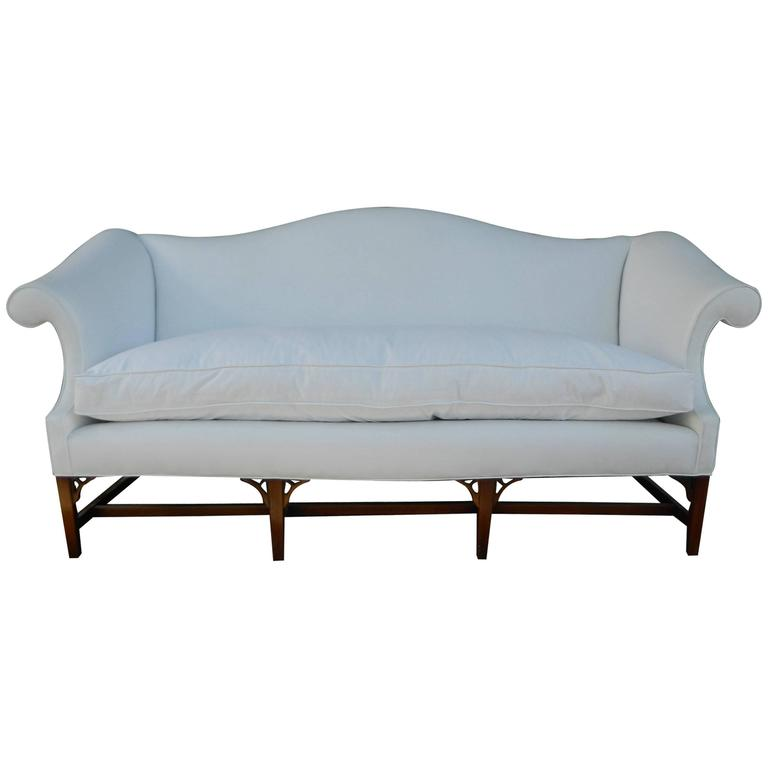 Chippendale Style Camelback Upholstered Sofa Late 19th Century For Sale At 1stdibs