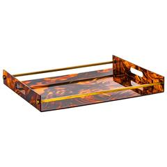 1970s Lucite Faux Tortoiseshell Tray