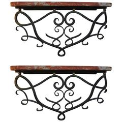 Jean Royere Inspired French Art Deco Wrought Iron Wall Consoles-Near Pair