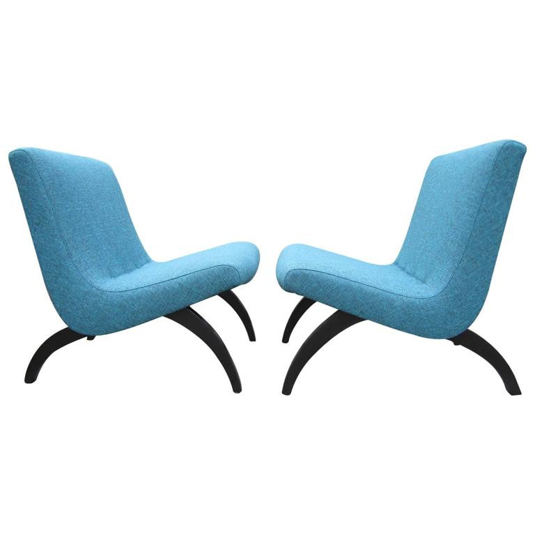 Excellent Early Pair Of Milo Baughman Scoop Chairs