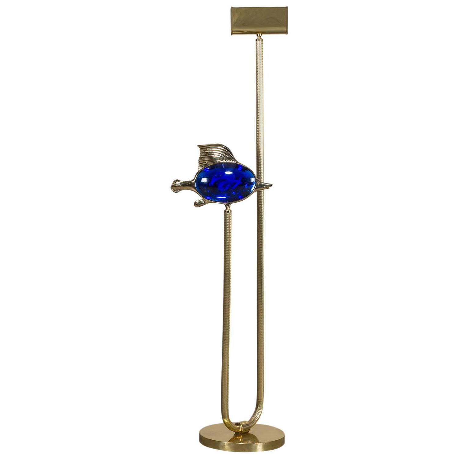 Vintage blue glass fish italian brass floor lamp circa for Floor lamp with blue glass