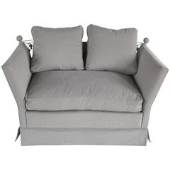 English Knole Style Grey Settee, 1940s