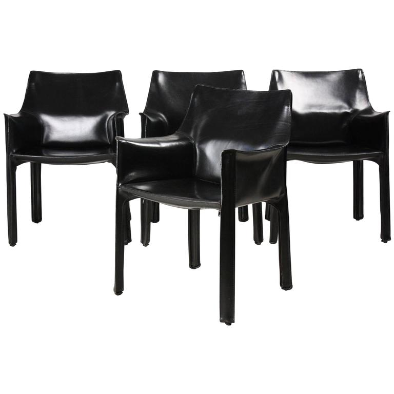 Set of Four Black CAB Armchairs by Mario Bellini for Cassina 1