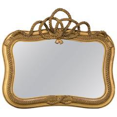 English Regency Period Rope Knot Bow Giltwood Mirror, circa 1830