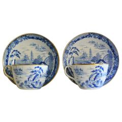 Pair of Wedgwood Blue and White Chinoiserie Cups and Saucers