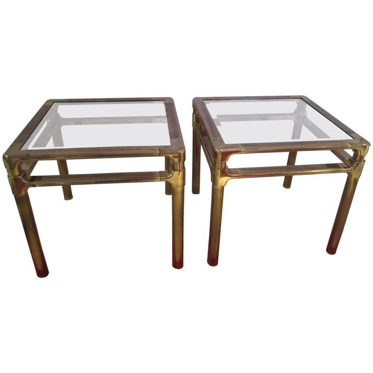 Lovely Pair Mastercraft Brass Asian Style Side End Tables For Sale