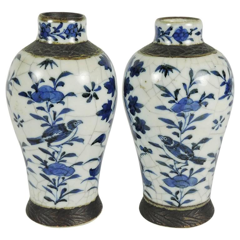 Pair Of Antique Chinese Blue And White Crackle Mei Ping Vases For