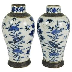 Pair of Antique Chinese Blue and White Crackle Mei Ping Vases
