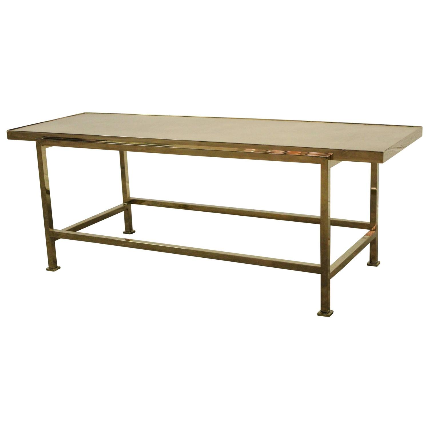 Narrow Rectangular Brass And Marble Coffee Table By Edward: Brass And Leather Coffee Table By Edward Wormley For