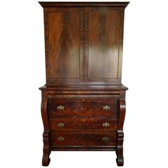 American Empire Style Crotch Mahogany Secretary and Bookcase, Late 18th Century