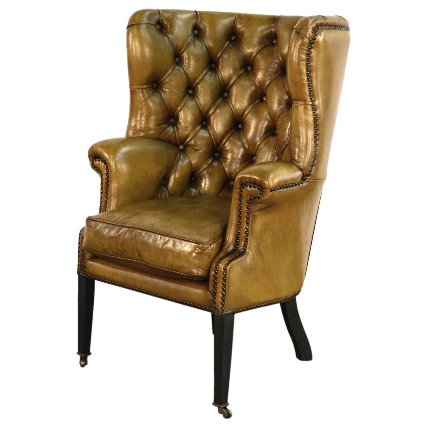 Red Leather Wingback Chair For Sale: Upholstered Wing Chair In Vintage Green Leather For Sale