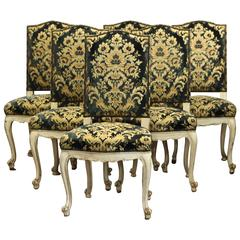 Six French Dining Chairs with Painted Frame