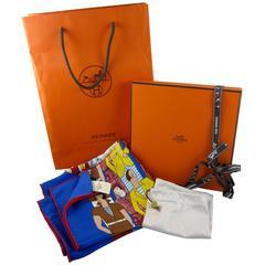 Hermes Vintage Les Sportives Scarf 70 Gitane Bleu, Original Tag and Packaging