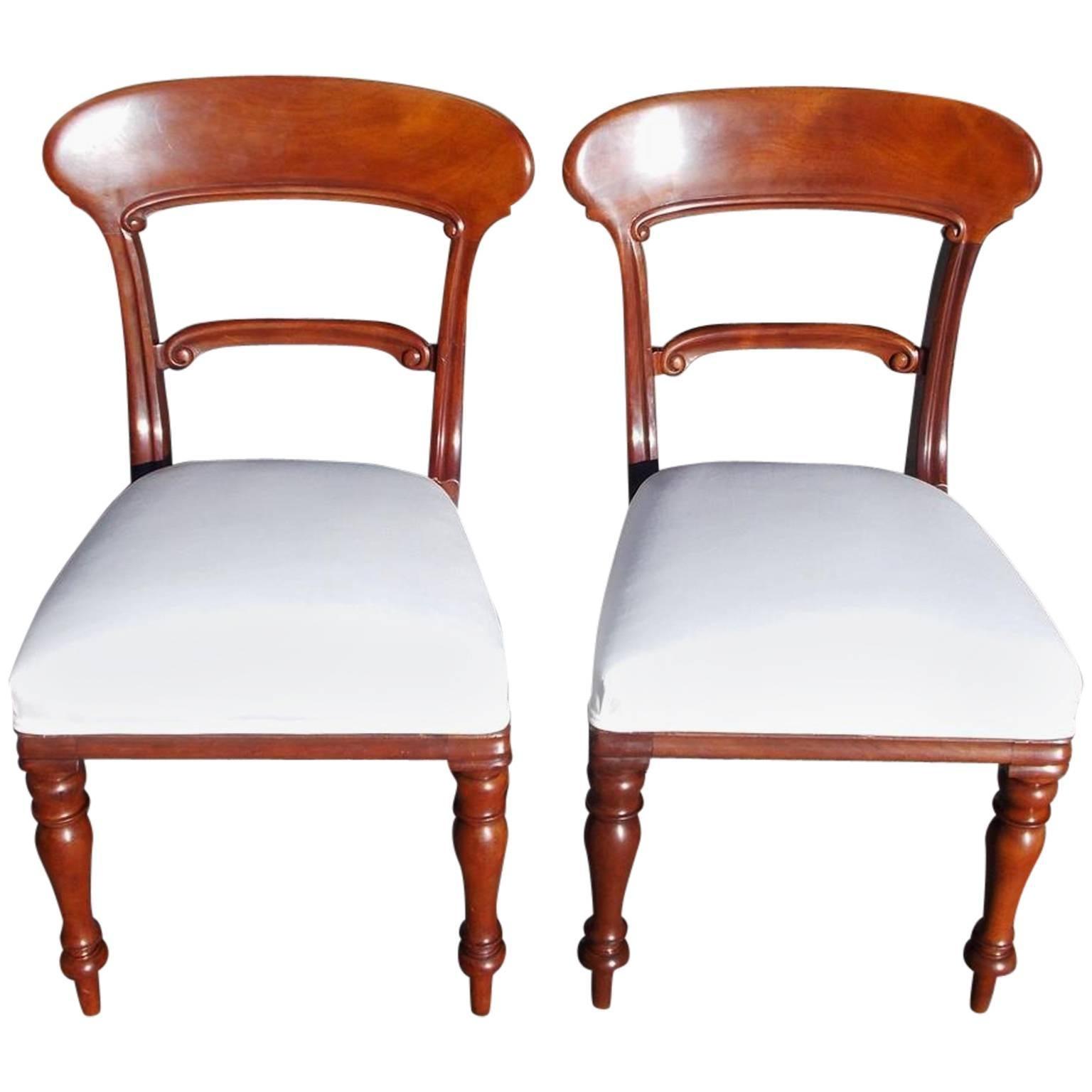 Pair of English Mahogany Regency Side Chairs, Circa 1820