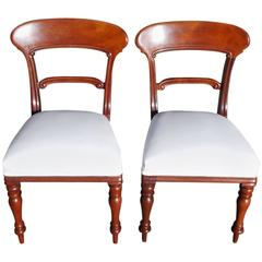 Pair of English Mahogany Regency Side Chairs, Circa 1820