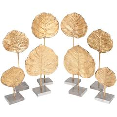 Eight Gilt Bronze Leaf Castings by Chrystaine Charles for Maison Charles