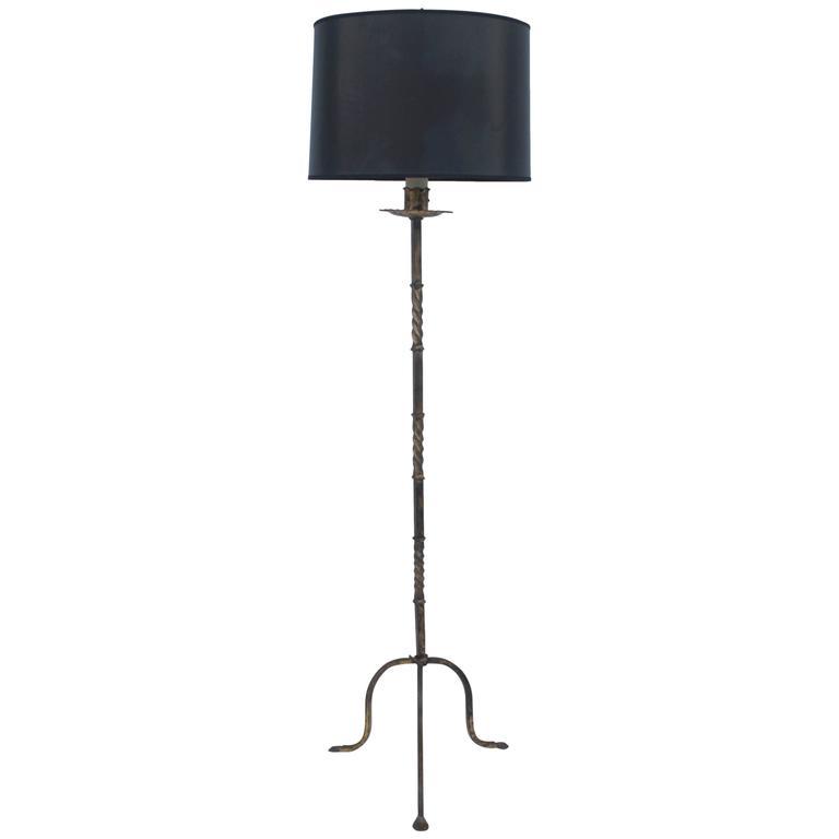 1960s French Iron Tripod Floor Lamp