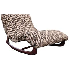 Adrian Pearsall Wave Rocking Chair Chaise in Walnut Base and Cut Velvet