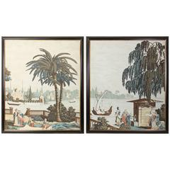 Pair of Large Framed Zuber Style Panels