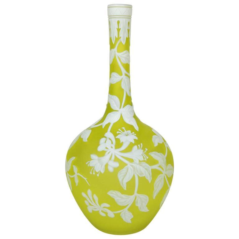 Late 19th Century English Art Nouveau Citrine Cameo Glass