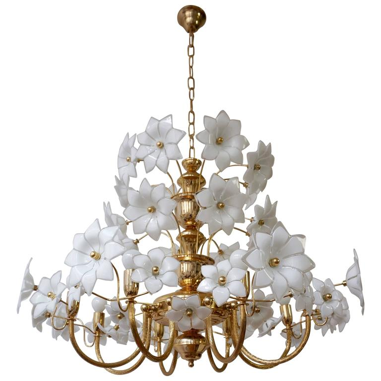Huge Brasurano Glass Flowers Chandelier For