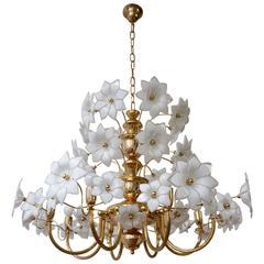 Huge Brass and Murano Glass Flowers Chandelier