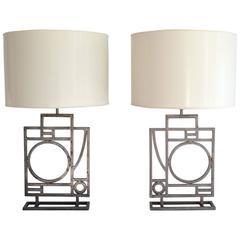 Pair of Postmodern Geometrical Form Table Lamps by Robert Sonneman
