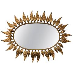 Midcentury Oval Mirror with Gilded Leaf Form Sunburst Frame