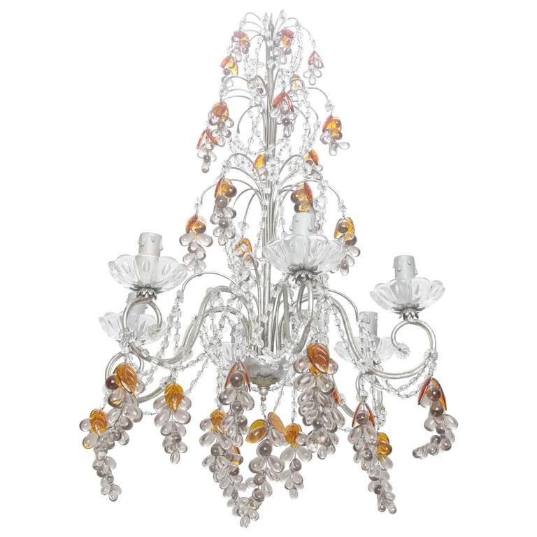 Six light chandelier with crystal beads and glass grapes for sale at 1stdibs - Chandelier glass beads ...