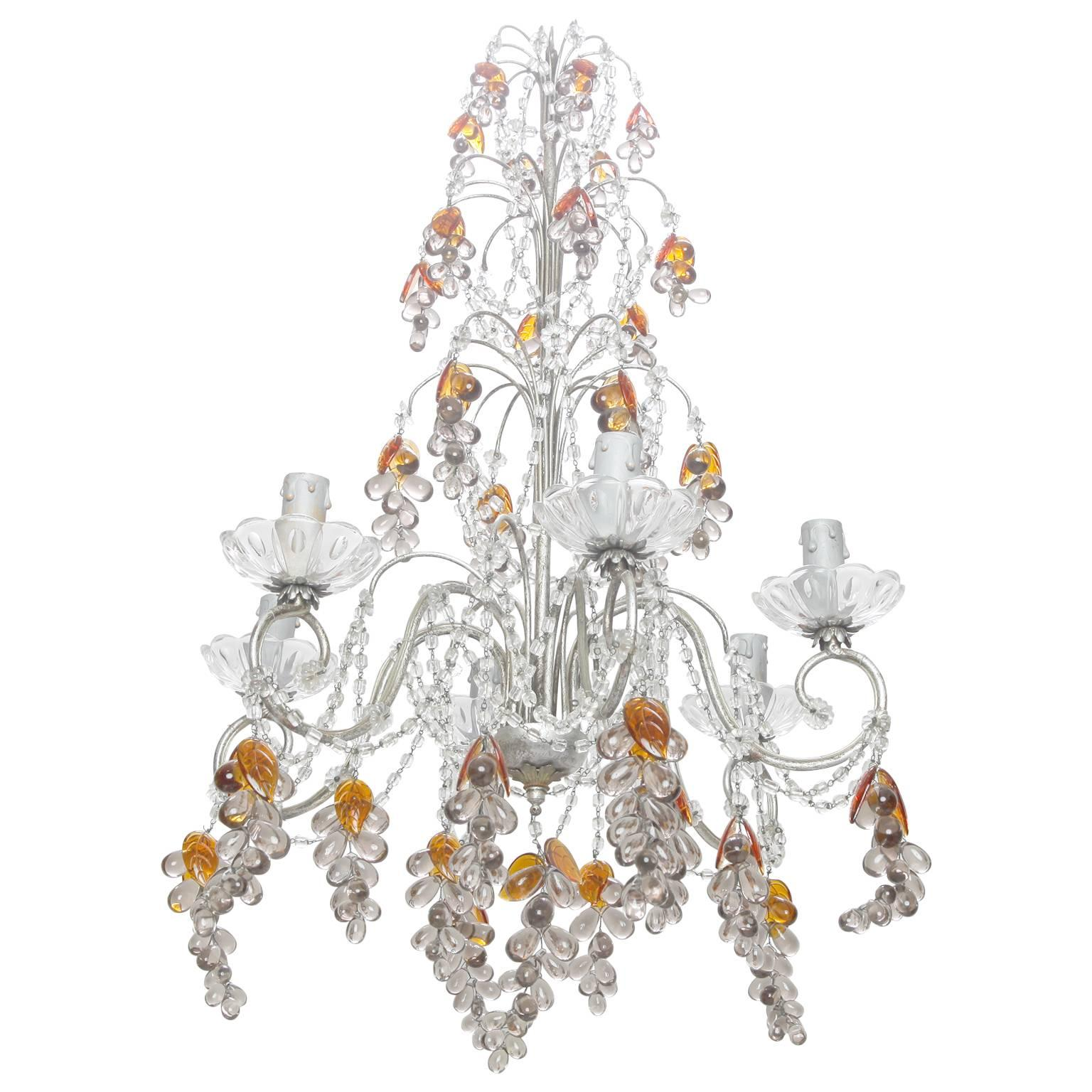 Six-Light Chandelier with Crystal Beads and Glass Grapes