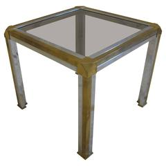 Italian Brass Chrome and Glass Side Table