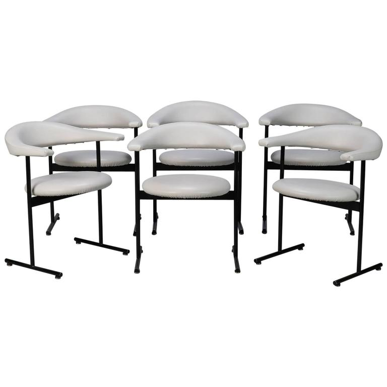 Set Of Six Off White Midcentury Streamlined Armchairs With Black Metal Frames