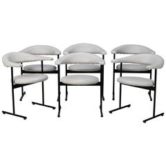Set of Six Off-White Midcentury Streamlined Armchairs with Black Metal Frames