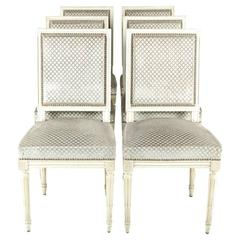 French Antique Louis XVI Dining Chairs in Set of Six, circa 1920