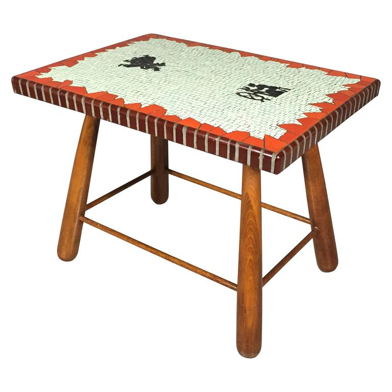 Polychrome Mosaic And Beech Coffee Table Paul Hedeg Rd 1944 At 1stdibs