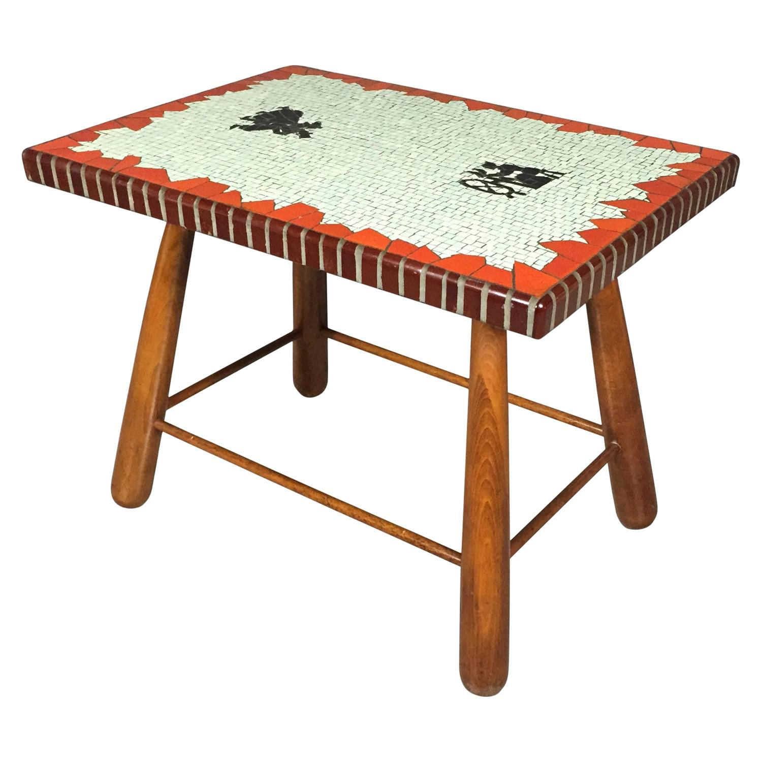 Polychrome mosaic and beech coffee table paul hedeg rd for Beech coffee table