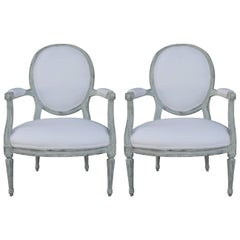 Pair of Louis XVI Style Painted Open Armchairs, Early 20th Century