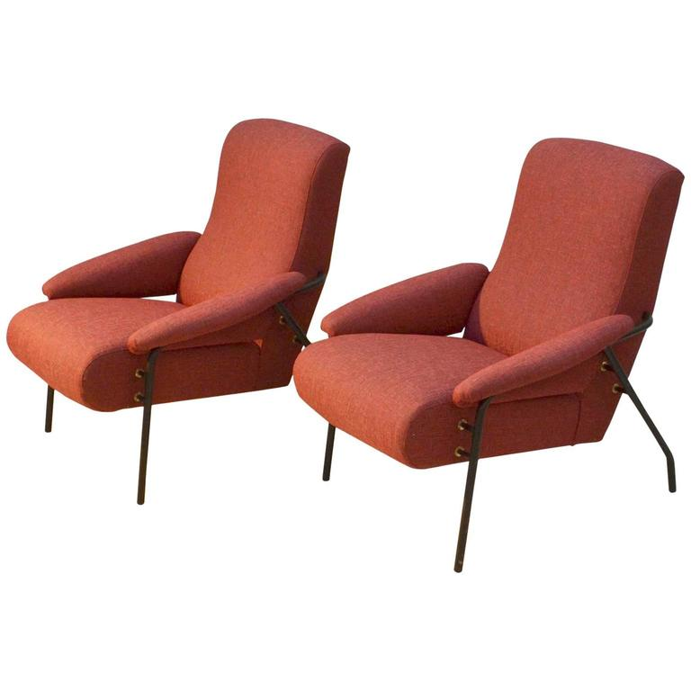 Pair of Red Italian 1960s Lounge Chairs