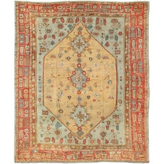 Antique Turkish Ghoirdes Oushak Rug in Light Green/Blue, Butter Yellow and Red