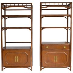 pair of midcentury bookcases cabinets