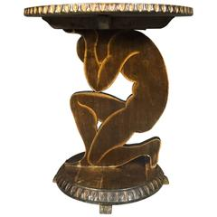 Art Deco Side Table, Figural Carved Birch, France, 1920s
