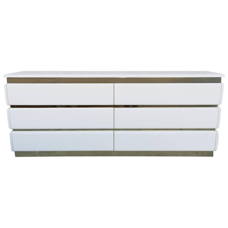 Glossy White Lacquer and Brass Six-Drawer Dresser by Rougier